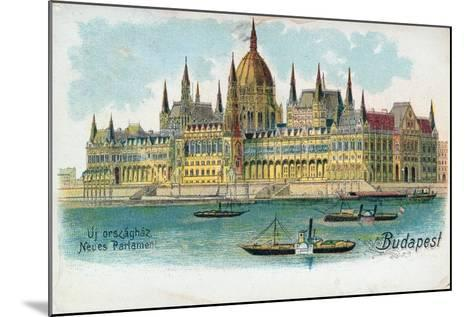 Postcard Depicting the Houses of Parliament, Budapest--Mounted Giclee Print