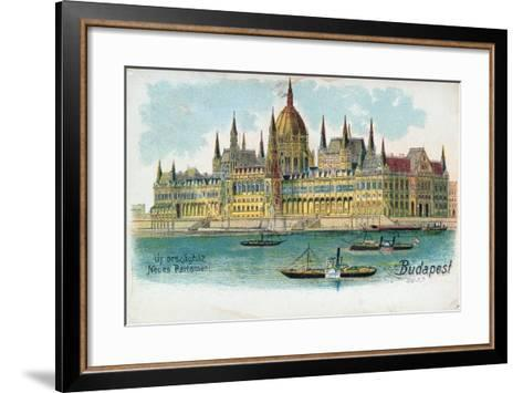 Postcard Depicting the Houses of Parliament, Budapest--Framed Art Print