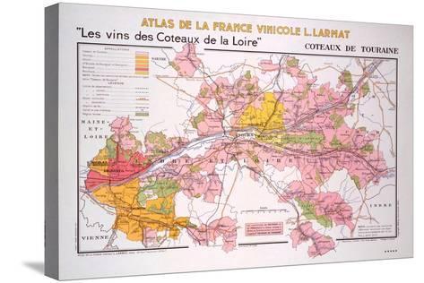 Map of the Coteaux De La Loire and Touraine Regions--Stretched Canvas Print