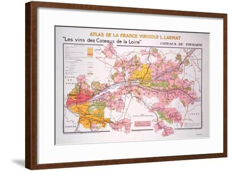 Map of the Coteaux De La Loire and Touraine Regions--Framed Art Print