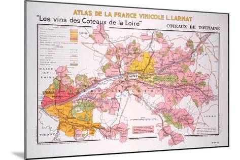 Map of the Coteaux De La Loire and Touraine Regions--Mounted Giclee Print