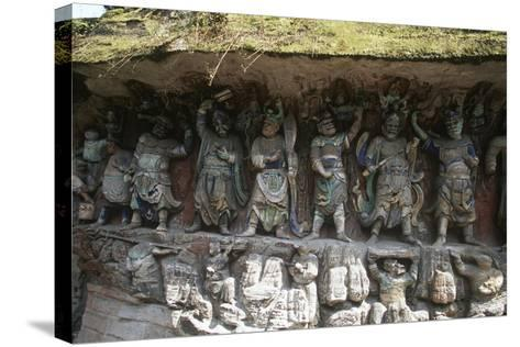 China, Chongqing, Dazu County, Dazu Rock Carvings with Stone Sculptures at Mount Baoding--Stretched Canvas Print