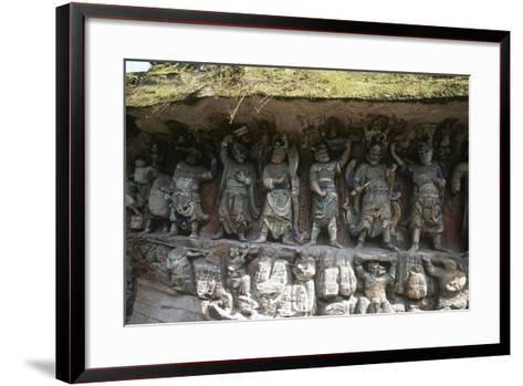 China, Chongqing, Dazu County, Dazu Rock Carvings with Stone Sculptures at Mount Baoding--Framed Art Print