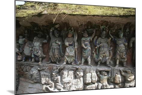 China, Chongqing, Dazu County, Dazu Rock Carvings with Stone Sculptures at Mount Baoding--Mounted Giclee Print