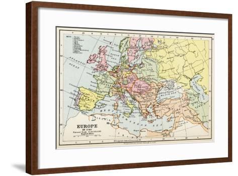 Map of Europe in 1740, from 'Historical Atlas'--Framed Art Print