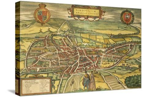 Map of Norwich from Civitates Orbis Terrarum--Stretched Canvas Print