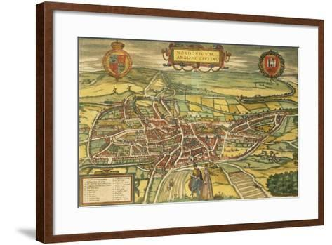 Map of Norwich from Civitates Orbis Terrarum--Framed Art Print