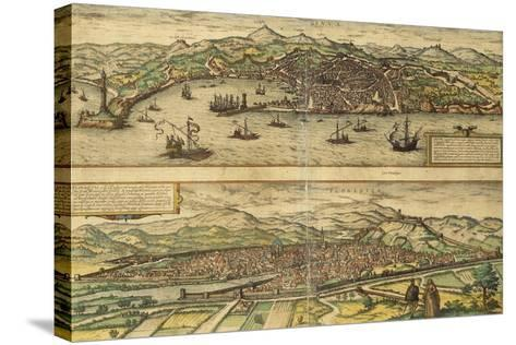 Map of Genoa and Florence from Civitates Orbis Terrarum--Stretched Canvas Print