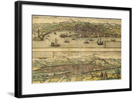 Map of Genoa and Florence from Civitates Orbis Terrarum--Framed Art Print