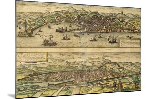 Map of Genoa and Florence from Civitates Orbis Terrarum--Mounted Giclee Print