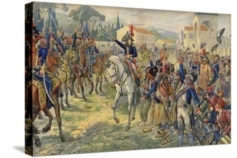 Napoleon Bonaparte on His Arrival in the Occupied City of Nice--Stretched Canvas Print