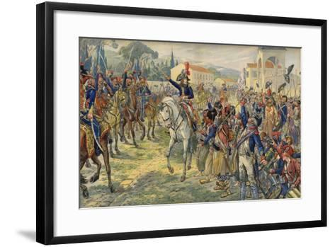 Napoleon Bonaparte on His Arrival in the Occupied City of Nice--Framed Art Print