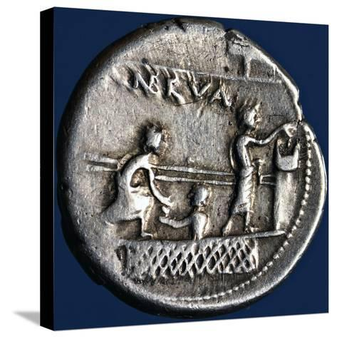 Silver Denarius with Scenes of Voting in Rome, 110-94 BC Roman Coins, 2nd-1st Century BC--Stretched Canvas Print