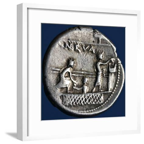 Silver Denarius with Scenes of Voting in Rome, 110-94 BC Roman Coins, 2nd-1st Century BC--Framed Art Print