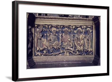 Christ and Four Saints, Detail Gilded Reliefs, Church of San Fedele, Como, Italy, 12th Century--Framed Art Print
