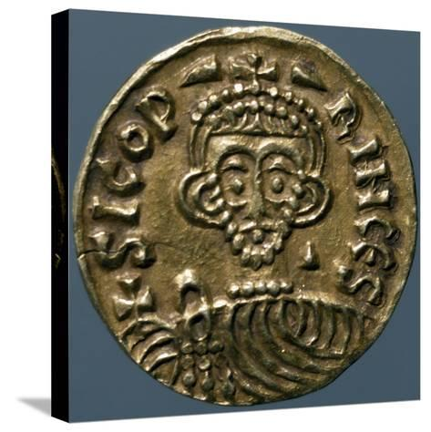 Gold Solidus of Sicone I, Prince of Benevento, Recto, Lombard Coins, 9th Century--Stretched Canvas Print