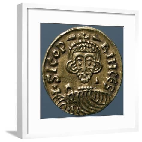 Gold Solidus of Sicone I, Prince of Benevento, Recto, Lombard Coins, 9th Century--Framed Art Print