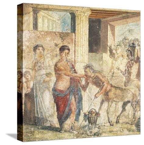 Fresco Depicting Centaur at Wedding of Pirithous and Hippodamia from Pompeii, Italy--Stretched Canvas Print