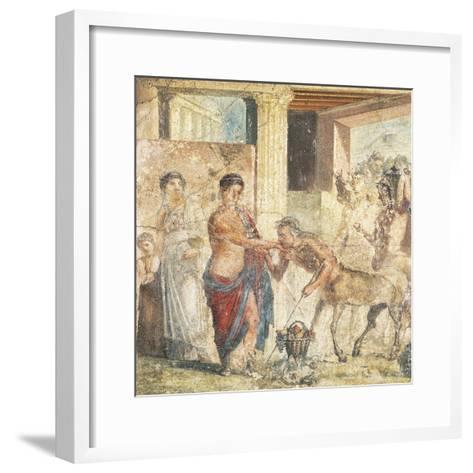 Fresco Depicting Centaur at Wedding of Pirithous and Hippodamia from Pompeii, Italy--Framed Art Print