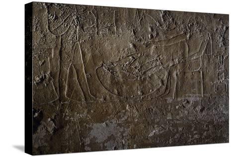 Fish Seller, Relief, Processional Ramp of Pyramid of Unas, Saqqara--Stretched Canvas Print