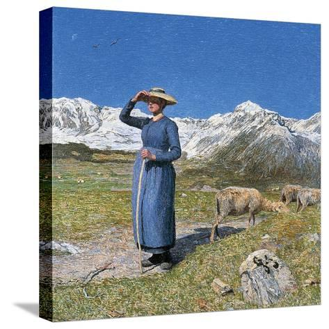 Midday on Alps on Windy Day, 1891--Stretched Canvas Print