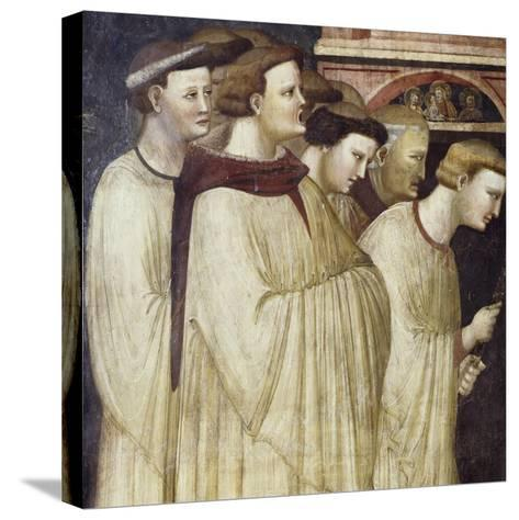 Monks Entering Monastery, Detail from Miraculous Resurrection of Filippa Barraca, 1320-1325--Stretched Canvas Print
