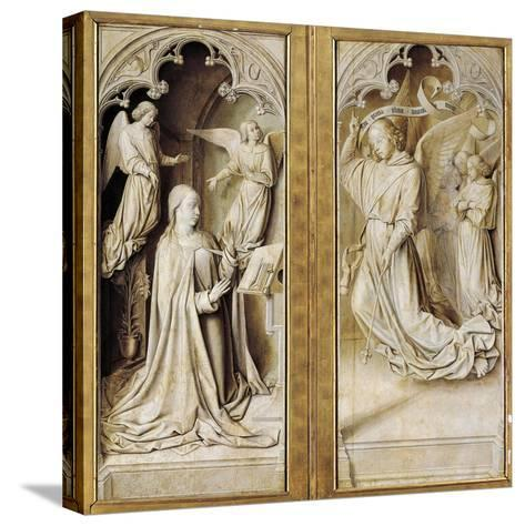 Annunciation in Grisaille--Stretched Canvas Print
