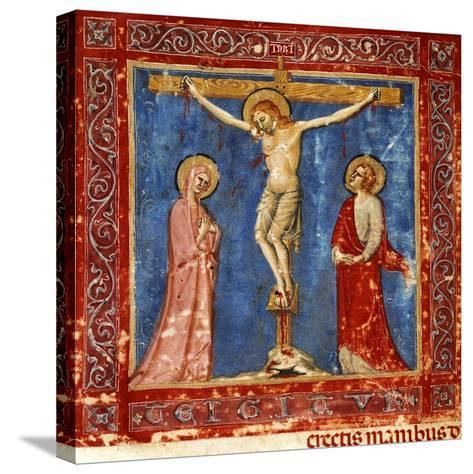 Jesus' Crucifixion, Miniature from the Missal of the Order of Friars Minor, Latin Manuscript--Stretched Canvas Print