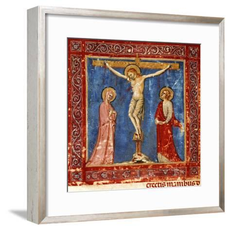 Jesus' Crucifixion, Miniature from the Missal of the Order of Friars Minor, Latin Manuscript--Framed Art Print