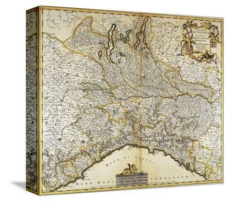 Genoa Republic, Duchy of Milan, Parma and Monferrato, Map--Stretched Canvas Print