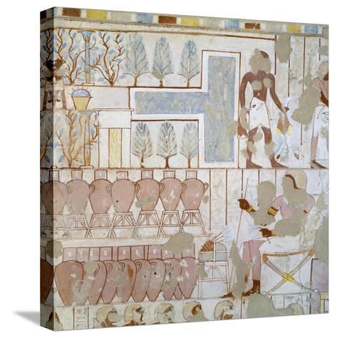 Egypt, Thebes, Luxor, Sheikh 'Abd Al-Qurna, Tomb of City Police Captain Nebamun, Mural Paintings--Stretched Canvas Print