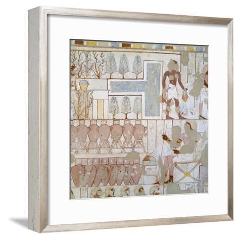Egypt, Thebes, Luxor, Sheikh 'Abd Al-Qurna, Tomb of City Police Captain Nebamun, Mural Paintings--Framed Art Print