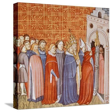 Charlemagne and His Retinue Entering a Church, Miniature from the Chronicle of Saint Denis--Stretched Canvas Print