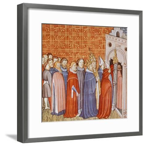 Charlemagne and His Retinue Entering a Church, Miniature from the Chronicle of Saint Denis--Framed Art Print
