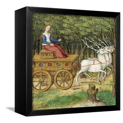 Diana on a Carriage Drawn by Four Deer, Miniature from the Lives of Famous Women by Antoine Dufour--Framed Canvas Print