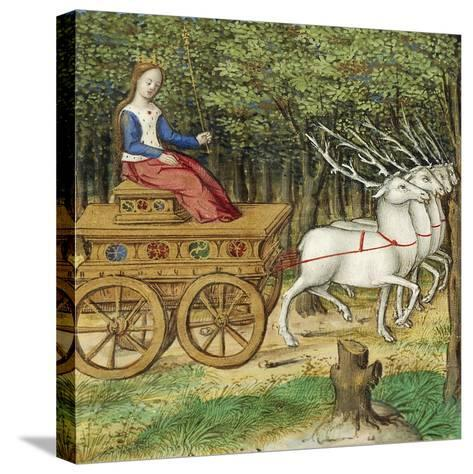 Diana on a Carriage Drawn by Four Deer, Miniature from the Lives of Famous Women by Antoine Dufour--Stretched Canvas Print
