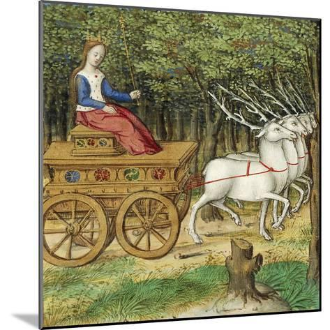 Diana on a Carriage Drawn by Four Deer, Miniature from the Lives of Famous Women by Antoine Dufour--Mounted Giclee Print
