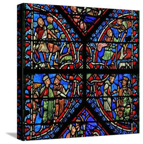 Window W2 Depicting the Magi with Herod, Annunciation to the Shepherds--Stretched Canvas Print