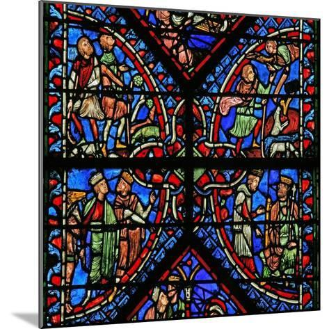 Window W2 Depicting the Magi with Herod, Annunciation to the Shepherds--Mounted Giclee Print