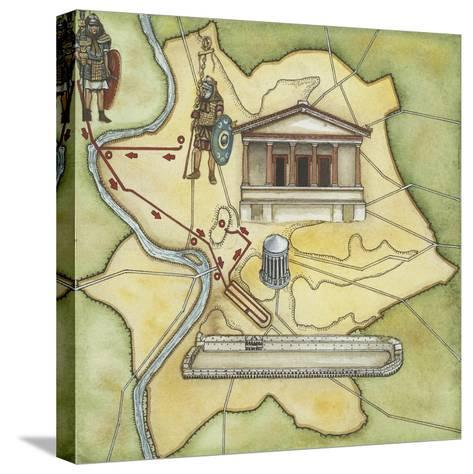 Map of Rome: Camp, Temple of Vesta, Circus Maximus, Capitoline Hill and the Temple of Jupiter--Stretched Canvas Print