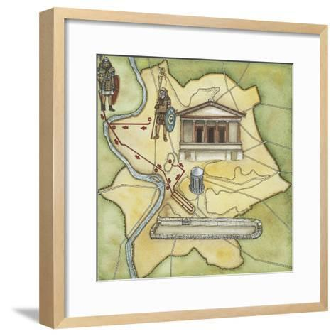 Map of Rome: Camp, Temple of Vesta, Circus Maximus, Capitoline Hill and the Temple of Jupiter--Framed Art Print
