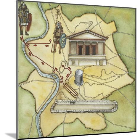 Map of Rome: Camp, Temple of Vesta, Circus Maximus, Capitoline Hill and the Temple of Jupiter--Mounted Giclee Print