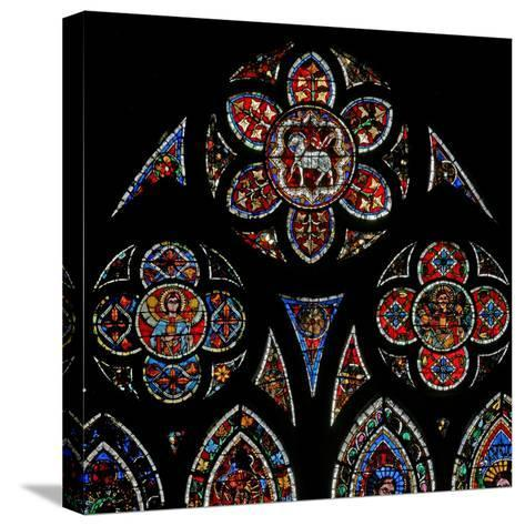 Window W202 Depicting the Tracery Lights with Two Angels and the Agnus Dei--Stretched Canvas Print