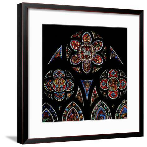Window W202 Depicting the Tracery Lights with Two Angels and the Agnus Dei--Framed Art Print