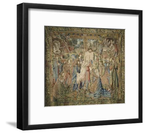 Deposition, 16th Century Spanish Tapestry from the Series Stories of the Life of Jesus Christ--Framed Art Print