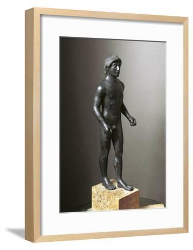 Greek Civilization, Bronze Statuette of Young Athlete--Framed Art Print