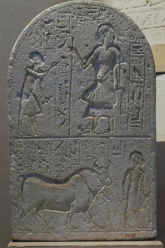 Votive Stele with Bas-Reliefs and Inscriptions from Tell El-Amarna, Limestone--Stretched Canvas Print