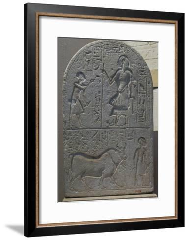 Votive Stele with Bas-Reliefs and Inscriptions from Tell El-Amarna, Limestone--Framed Art Print