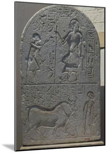 Votive Stele with Bas-Reliefs and Inscriptions from Tell El-Amarna, Limestone--Mounted Giclee Print