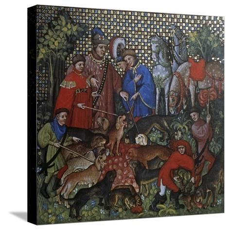 Hunting Scene, Illustration from Livre De Chasse, Medieval Treatise on Hunting--Stretched Canvas Print